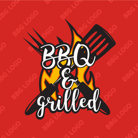 snack bar: Creative bbq design with flame. Vector illustration. Bbq label used for advertising barbecue house, steak house, snack bar or restaurant menu.