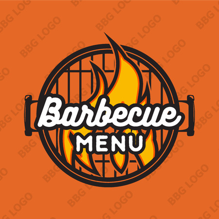 snack bar: Creative design with bbq grill and flame. Vector illustration. Bbq label used for advertising barbecue house, steak house, snack bar or restaurant menu. Illustration