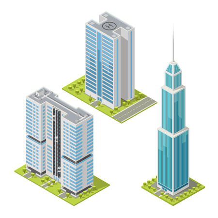 Set of realistic office buildings, isometric skyscrapers, modern apartment.