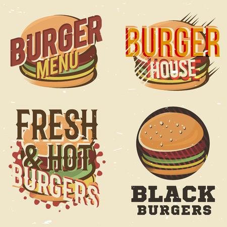 snack bar: Creative set of design with burger. Vector illustration. Burger labels designed for fastfood menu, burger house, snack bar or pizzeria.
