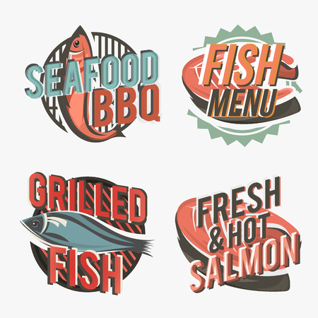 grilled salmon: Creative set of fish include salmon steak and grilled fish silhouette. Illustration