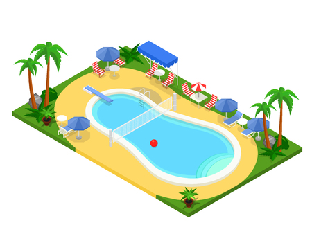 seaside resort: Realistic isometric outdoor swimming pool. Creative 3D vector illustration, summer vacation concept. Basin design used for infographics, map creation or banner, poster, card.