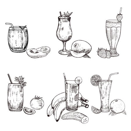 fruity: Collection of different smoothie in glass. Vector sketch of avocado, banana, mango, orange, strawberry, and tomato beverages. Fruity set used for poster, advertising menu or recipe book design.