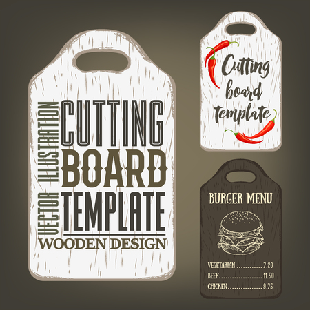 Hand drawn cutting board mockup with usage examples. Vector illustration with textured rectangular plank used as template for label, logo, card, poster, advertising bar or pizzeria menu. Illustration