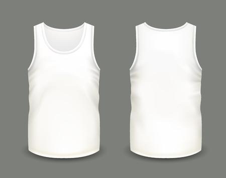 Mens biały bez rękawów zbiornika z przodu iz tyłu poglądów. Ilustracja wektora realistyczne szablon koszula mężczyzn. Całkowicie edytowalna ręcznie robiona siatka. 3d singlet używany jako makiet do drukowania lub projektowania logo. Logo
