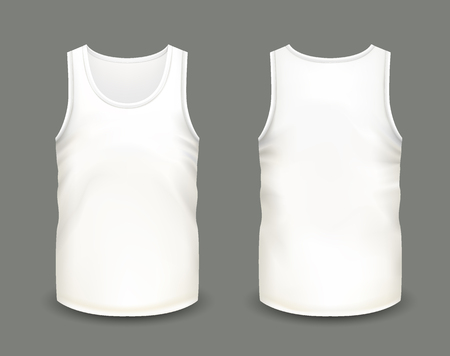 Mens white sleeveless tank in front and back views. Vector illustration with realistic male shirt template. Fully editable handmade mesh. 3d singlet used as mock up for prints or logo design.