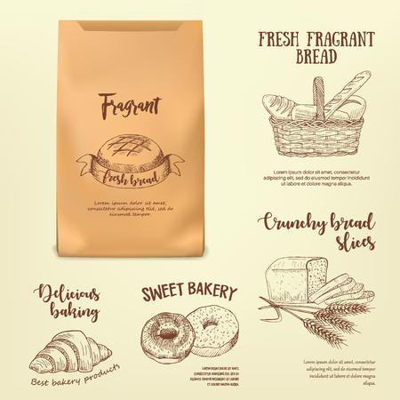 Set of hand drawn bread labels on paper bag mockup. Vector illustration with line realistic baking emblems designed for advertising bakery, booklet, handbill, poster, logo and packing design. Reklamní fotografie - 73005189