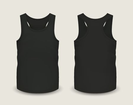 Mens black tank top without sleeves in front and back views.