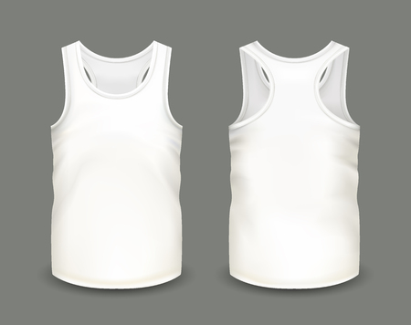 Mens white tank top without sleeves in front and back views. Vector illustration with realistic male shirt template. Fully editable handmade mesh. 3d singlet used as mockup for prints or logo design. Vectores