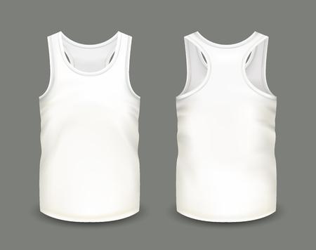 Heren witte tanktop zonder mouwen in voor- en achterkant. Vectorillustratie met realistische mannelijke shirt sjabloon. Volledig bewerkbaar handgemaakt gaas. 3d singlet gebruikt als mockup voor prints of logo-ontwerp.
