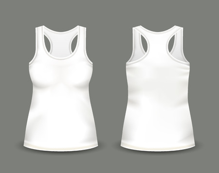 Womans white sleeveless tank top in front and back views.  イラスト・ベクター素材
