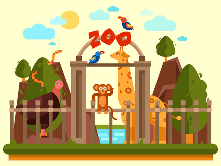 domesticated: Colourful view of the zoo entrance with animals and beautiful landscape. Flat vector banner, simple design. Park exterior good for poster, booklet, wallpaper creation or children illustration.