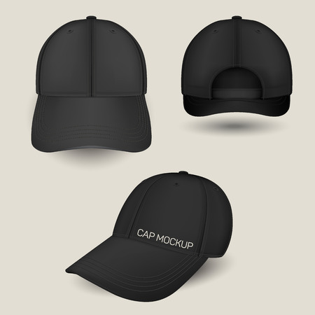Black caps mockup in front, side and back views. Vector templates. Fully editable handmade mesh. Realistic hat set used for advertising labels, logo, emblem design or textile goods, for websites. Illustration
