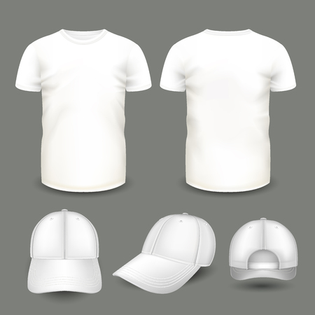 Set of mens white t-shirt and cap in front and back views. Volumetric vector template. Realistic shirts mockup used for advertising labels, logo, emblem design or textile goods, for websites. Stock fotó