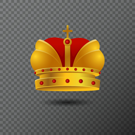 baroque: Vector icon of golden crown with red stones and cross. Volume gradient diadem isolated on background. Shiny realistic jewel used for a logo, label, certificate or diploma creations.