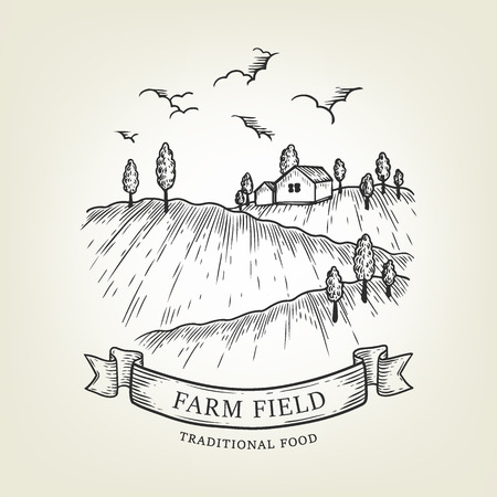 Vector farm landscape. Rural view done in graphic style, isolated on background. Outline field use as label, logo, sticker, emblem for advertising organic products or banner, book.