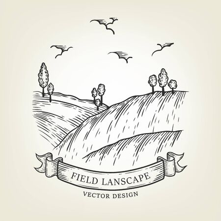Sketch of field landscape with hills and trees. Vector illustration done in graphic style. Outline countryside use as label, logo, sticker, emblem for advertising organic products.
