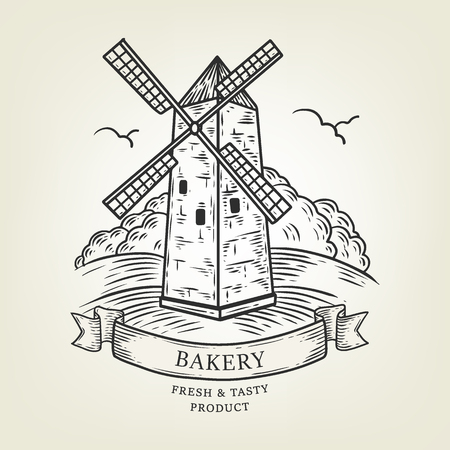 Sketch of windmill landscape. Vector illustration done in graphic style, isolated on background. Realistic old mill use as label, logo, sticker, emblem for advertising bakery, flour products.