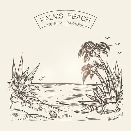 Szkic nadmorskiej plaży. Sylwetka wektor morza z piasku, palm i kamieni.