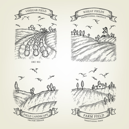 Set of farm landscapes with field views. Vector farmlands isolated on background. Outline countrysides are use as label, logo, sticker, emblem for advertising organic products.