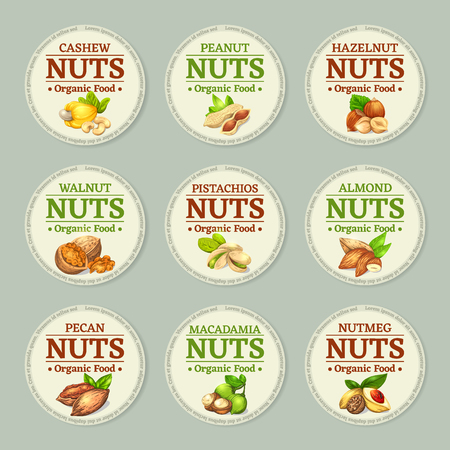 Set of nuts labels. Vector illustration with round frame template. Realistic kernels emblems are good for advertising kernels products.