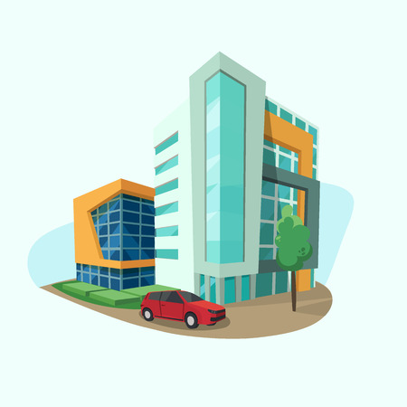 Cityscape icon with modern shopping center, office space and car vector town panorama done in cartoon style, flat design.