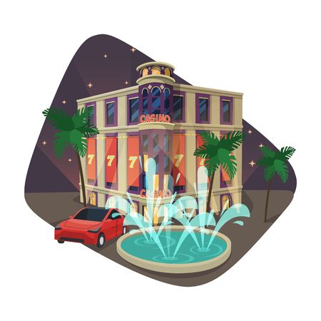 Building of casino or gaming house at night Illustration