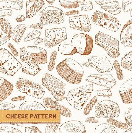 Seamless pattern of cheese, milk product sketches. Mimolette and asiago, chechil or sulguni, cheddar and gouda, parmesan and colby jack. Appetizer and natural nutrition, vegetarian cuisine theme Illustration
