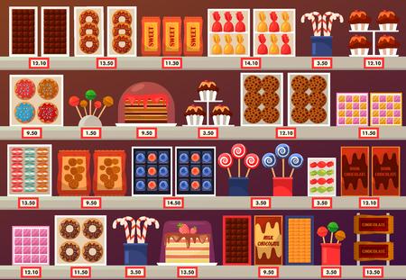 Dulces en el mercado o centro comercial, tienda o tienda, puesto en el mercado o stand. Exposición de confitería con caramelo de trufa y piruleta, galleta de chocolate y pastel con crema, donut. Pastelería y tema minorista