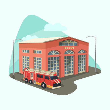 Firehouse building or fire department with truck