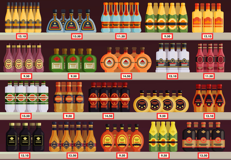 Pub or tavern, alcohol shop or store stall vector image