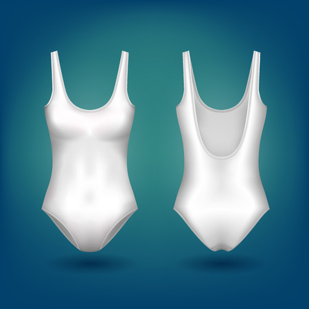 Isolated women or ladies sleeveless one piece swimsuit with scoop neck and open back. Female swimwear or girl sportswear for swimming at ocean or sea, pool apparel. Femininity and woman clothing theme