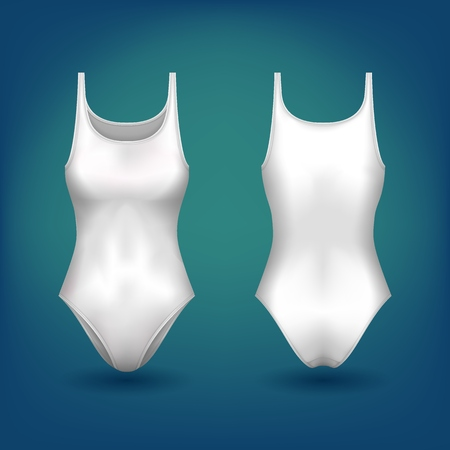 One piece swimwear for woman body, swimsuit with round neck for pool swimming. Modern female sport sleeveless uniform for water diving, women apparel for seaside. Fashion and clothing theme.