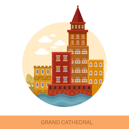 Grand medieval cathedral or old european church Vector illustration. Illustration