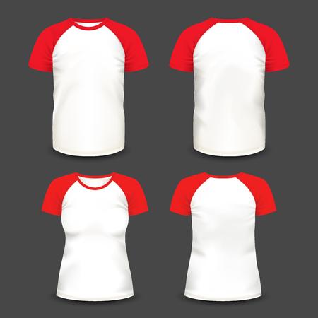 Short raglan sleeve realistic volumetric t-shirts.