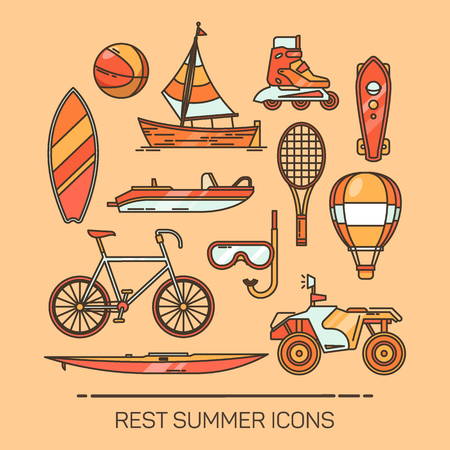 Set of summer vacation or recreation icons.