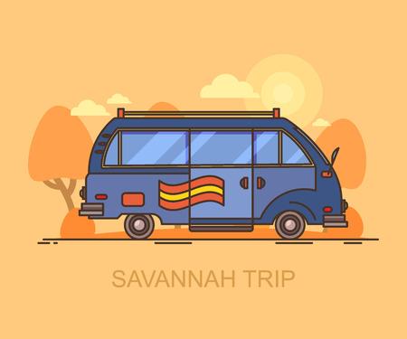 Car or small van driving through Savannah, safari.