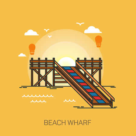 Wharf or quay, pier or wooden dock on beach