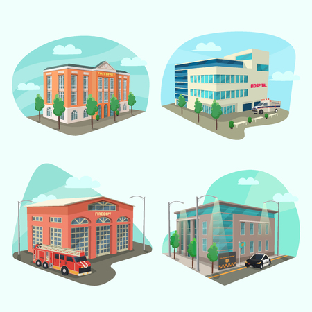 Set of service department or building Stock Vector - 100182692