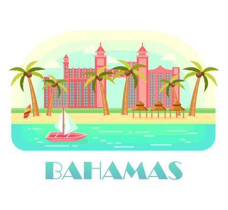 Yacht at ocean and beach of Bahamas vector illustration. Illusztráció