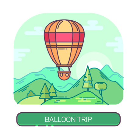 Hot air flying balloon, travel and trip vector illustration.