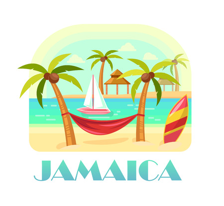Jamaica beach and ocean, coastline with palms. Illustration