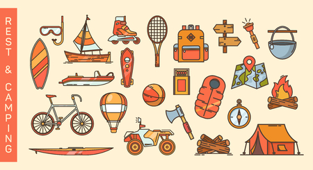 Set of summer recreation and camping icons