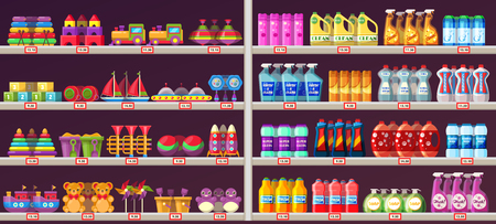 Mall shelves with kids toys and domestic chemical products. Supermarket showcase with teddy bear, cars, cubes, shampoos, detergents, soap, cleaning agents. Can be used for retail, sell theme