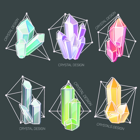 Natural crystals in a shaped geometric frame