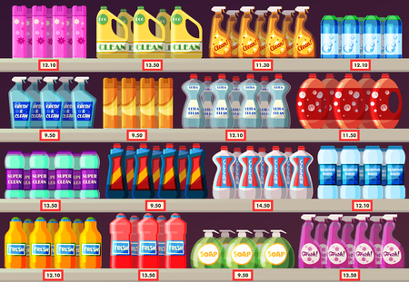 Shop shelves with detergents, cleaning agents, shampoos, liquid soap in a household chemical store. Supermarket showcase with domestic goods Ilustração