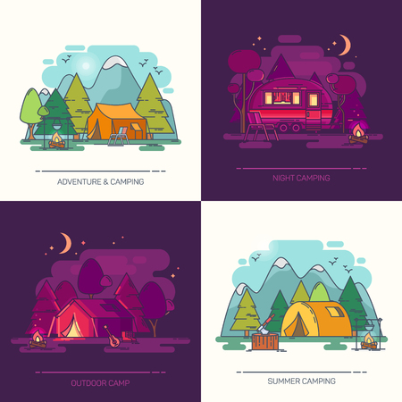 Camping in forest at day or night. Recreation in wood with hight mountains, tent, kettle on fire, guitar and burning firewood. Outdoor view on wildlife landscape. Travel and active tourism, expedition Banco de Imagens - 121822535