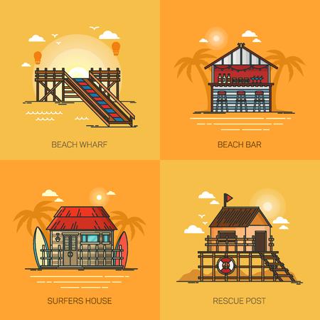 Conjunto de lugares de vacaciones. Chiringuito con palmeras. Muelle en el mar. Casa de surfista con tablas en el océano. Puesto de salvamento en la costa. Puede usarse para viajes y viajes, tema de verano.