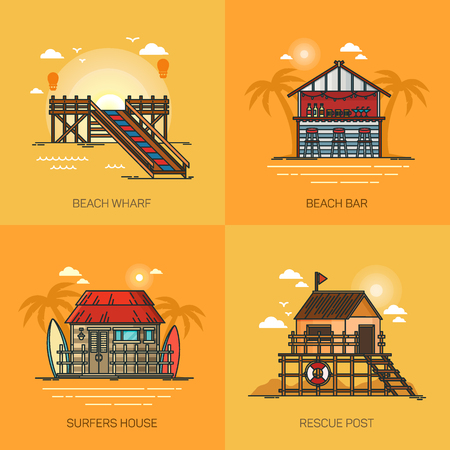 Set of vacation places. Beach bar with palms. Pier at sea. Surfer house with boards at ocean. Rescue post at coastline. May be used for travel and journey, summertime theme Ilustração