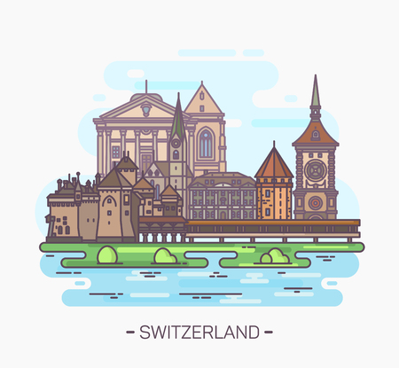 Famosos monumentos suizos. Torre y catedral